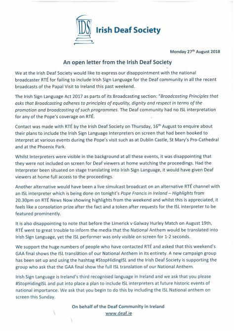 ISL open letter to RTE